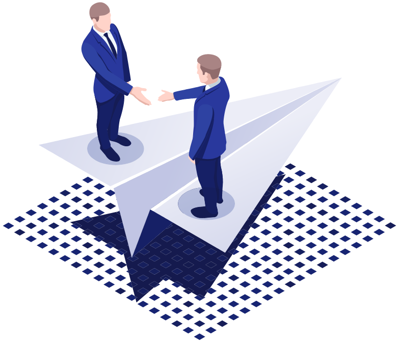 Two men shaking hands on a big paper aeroplane