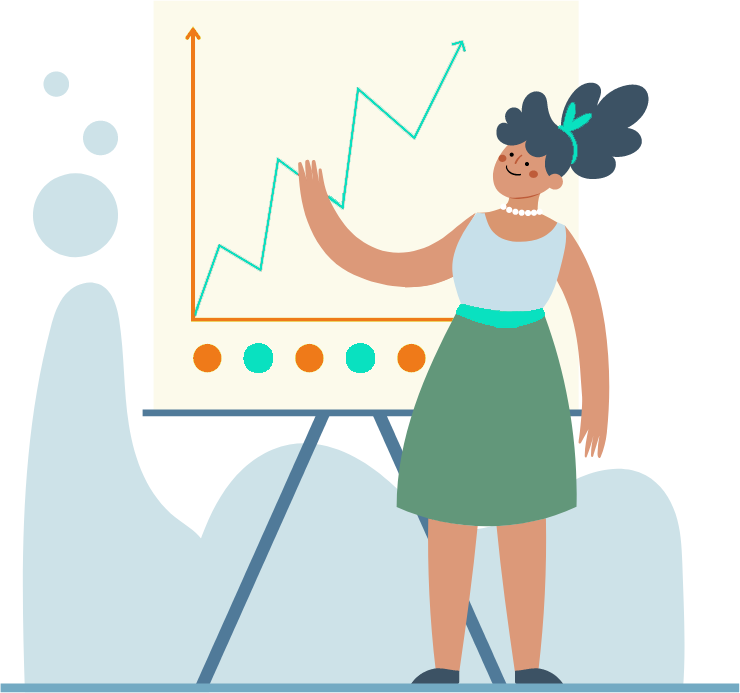 Woman standing in front of flip chart that is illustrating increasing sales growth